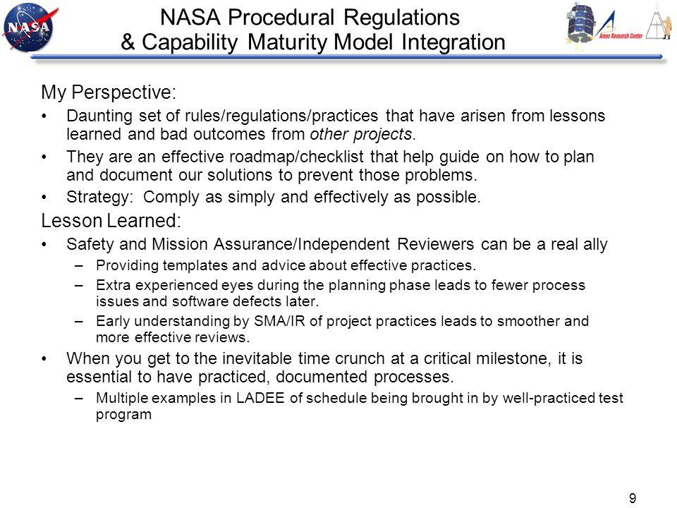 NASA Procedural Regulations & Capability Maturity Model Integration