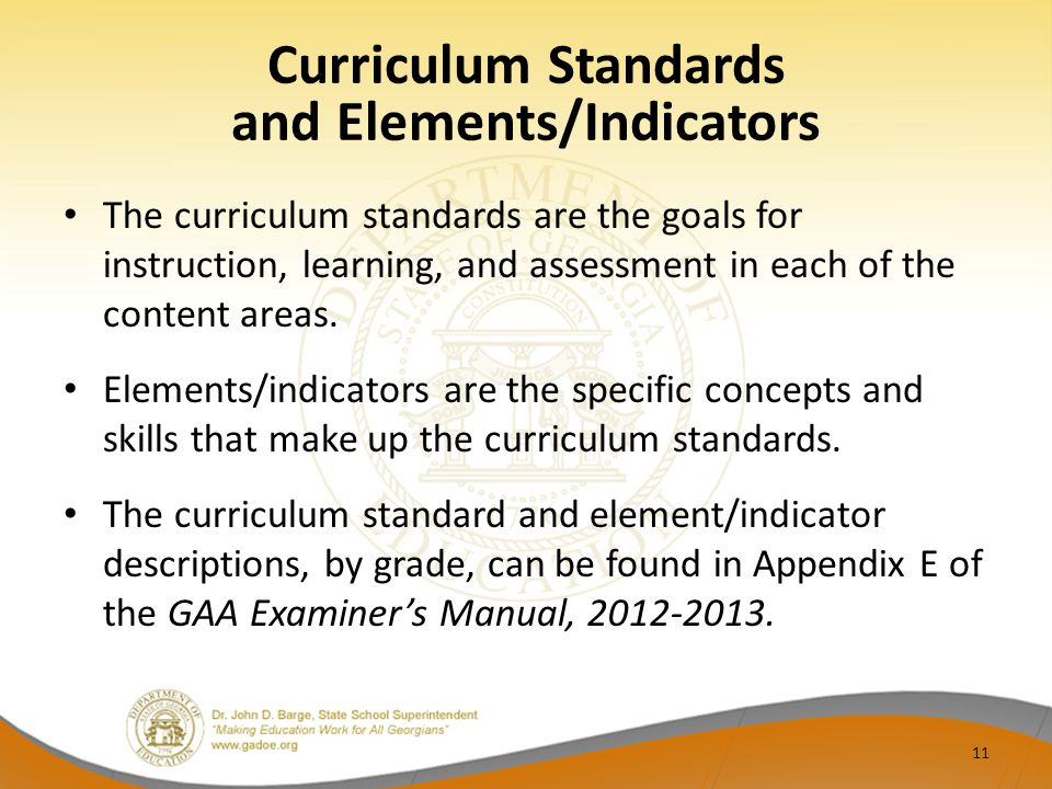 Curriculum Standards and Elements/Indicators
