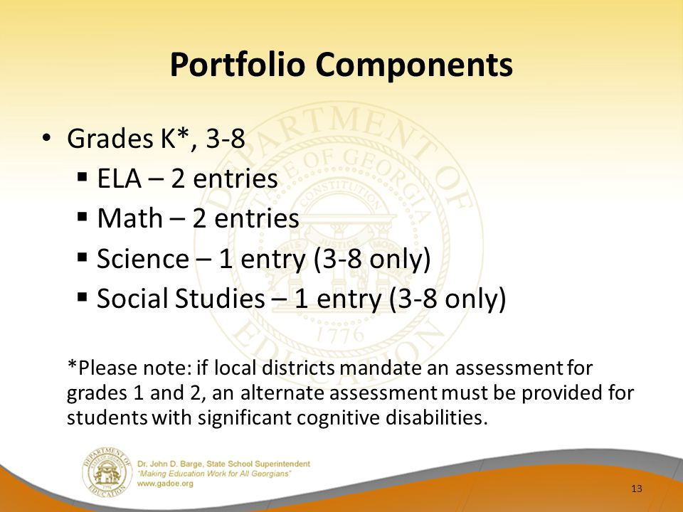 Portfolio Components Grades K*, 3-8 ELA – 2 entries Math – 2 entries