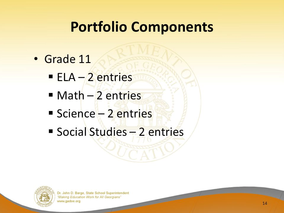 Portfolio Components Grade 11 ELA – 2 entries Math – 2 entries