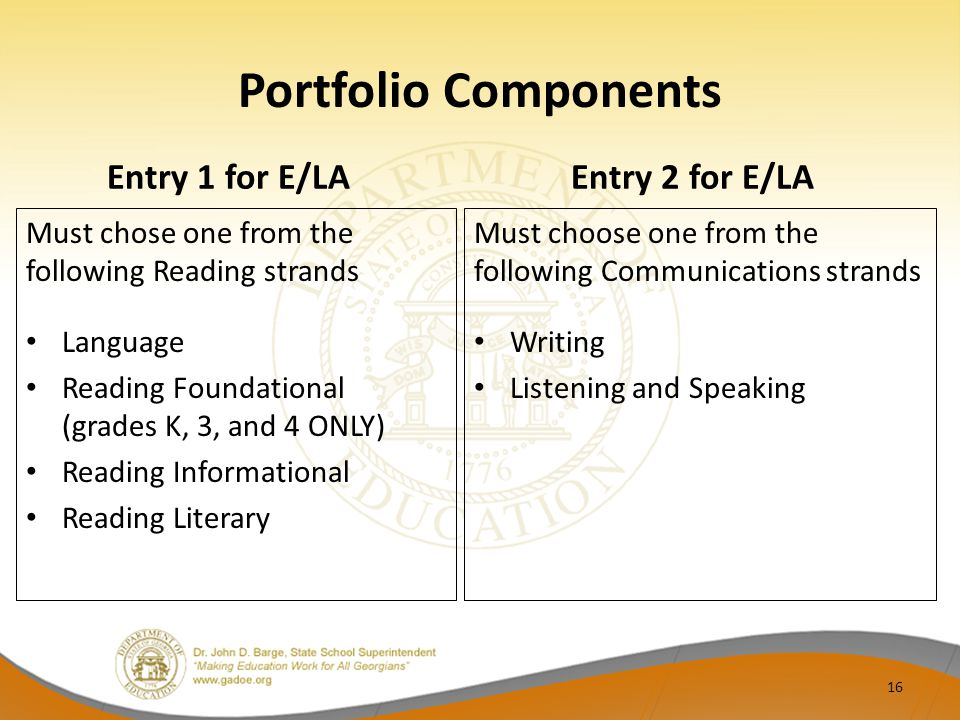 Portfolio Components Entry 1 for E/LA Entry 2 for E/LA