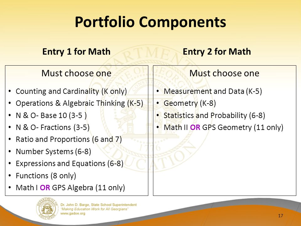Portfolio Components Entry 1 for Math Entry 2 for Math Must choose one