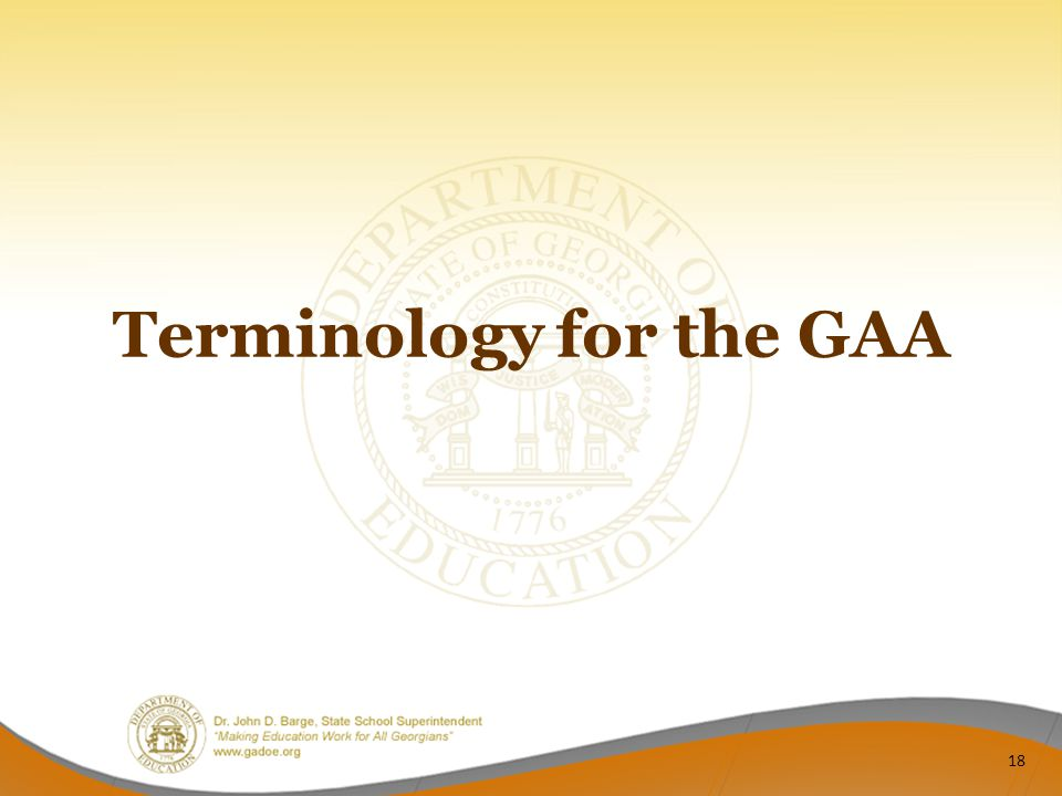 Terminology for the GAA