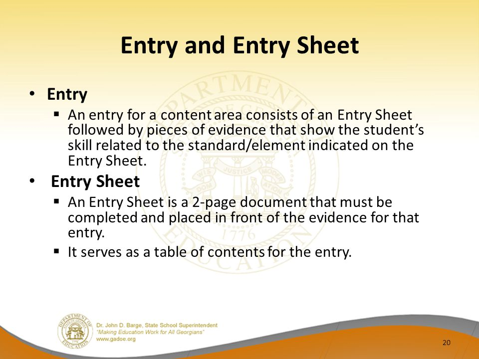 Entry and Entry Sheet Entry Entry Sheet