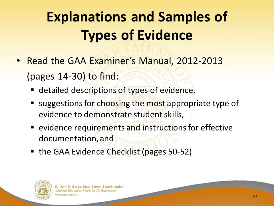 Explanations and Samples of Types of Evidence