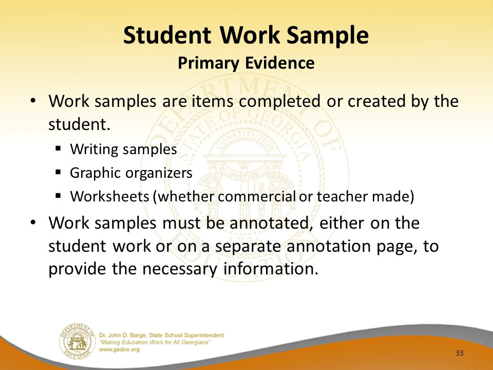 Student Work Sample Primary Evidence
