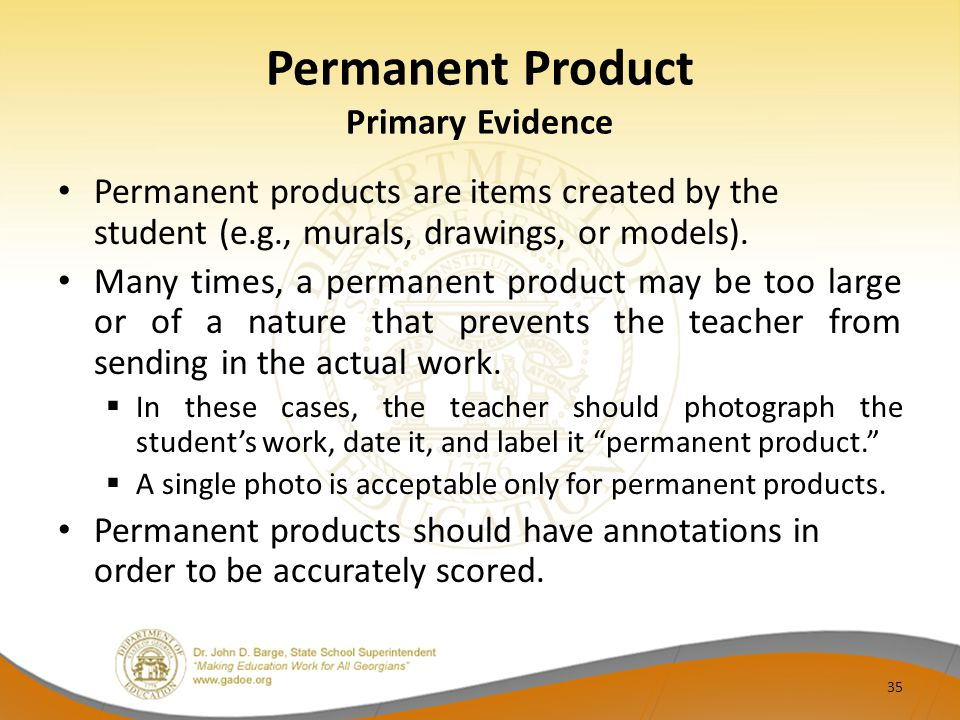 Permanent Product Primary Evidence