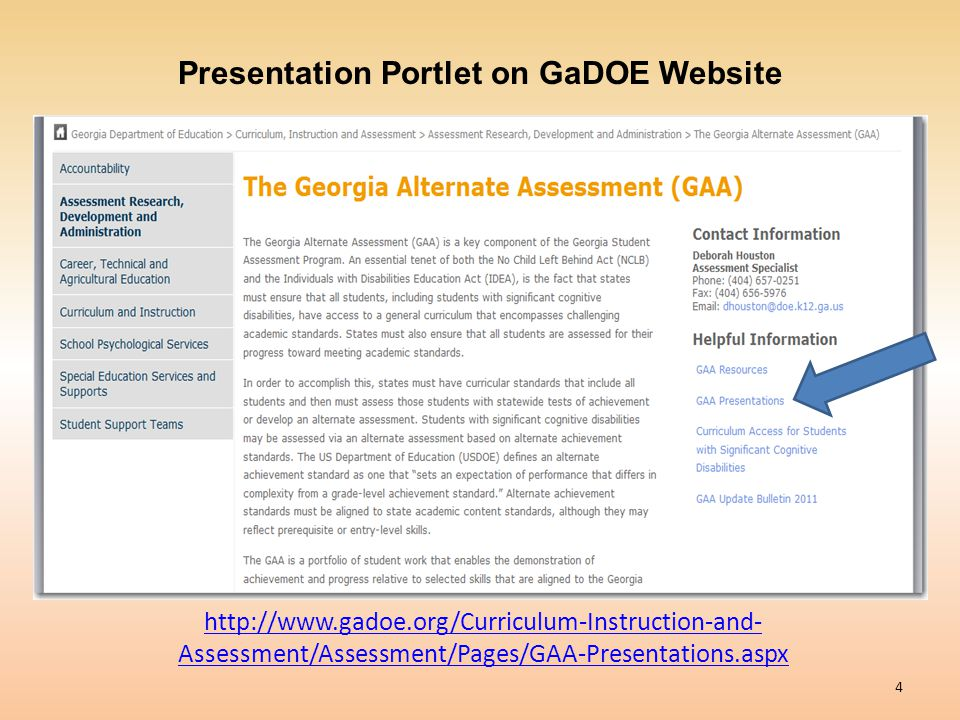 Presentation Portlet on GaDOE Website
