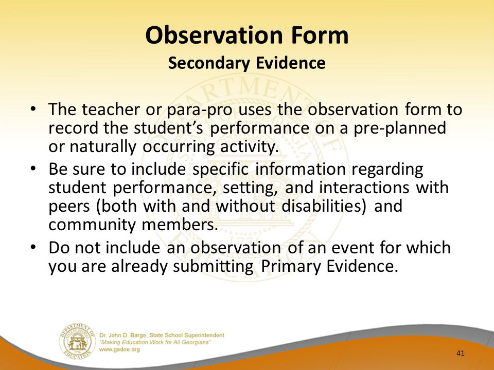 Observation Form Secondary Evidence
