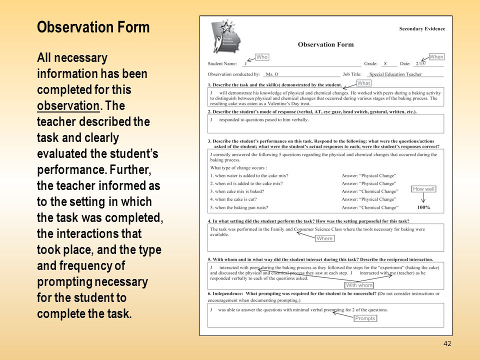 Observation Form All necessary information has been completed for this observation.