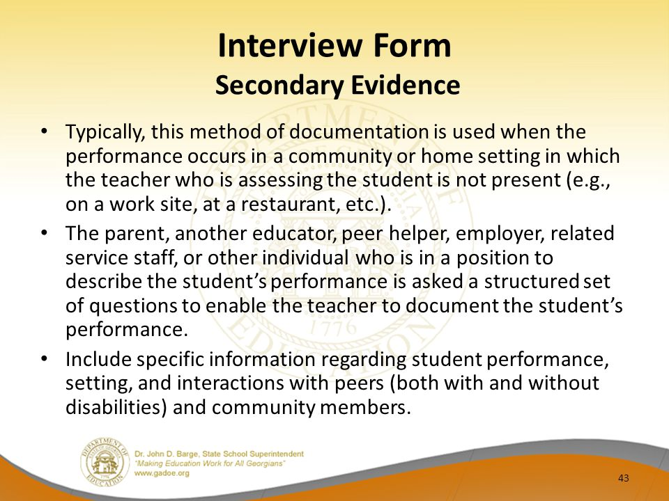 Interview Form Secondary Evidence