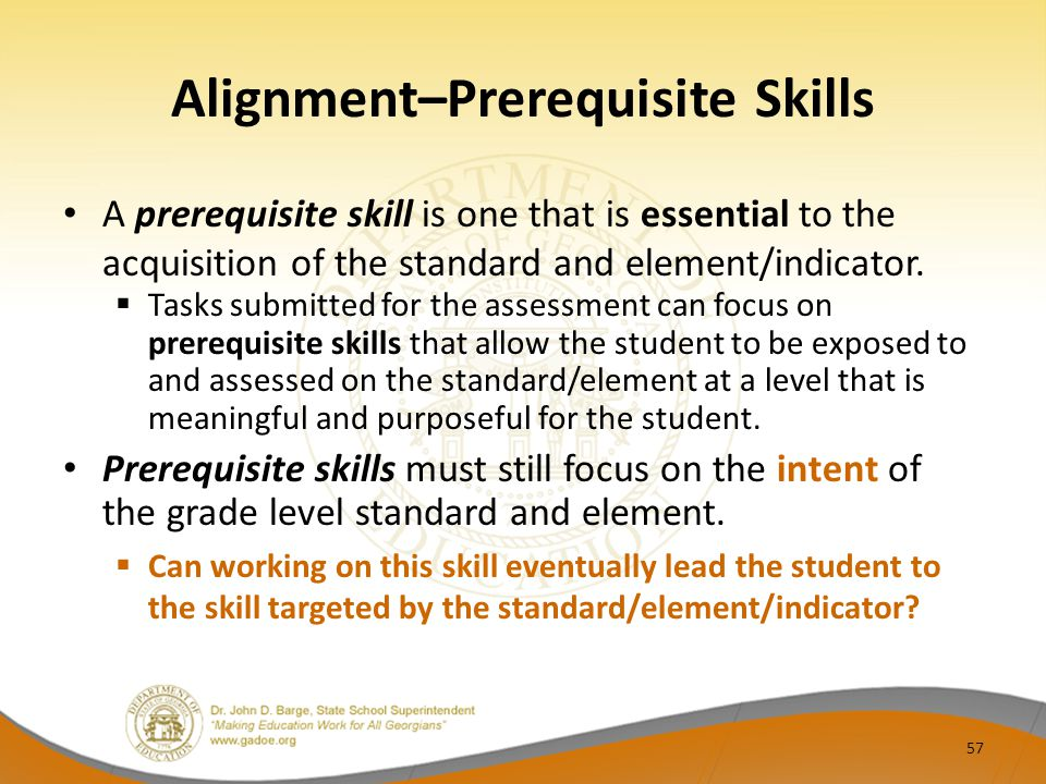 Alignment–Prerequisite Skills