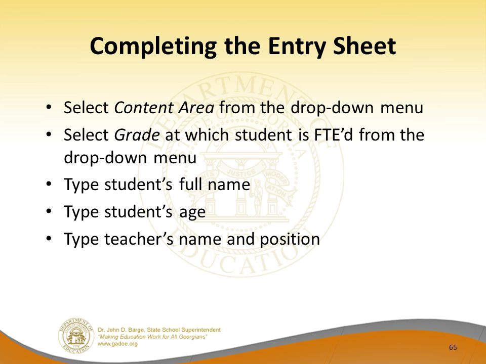 Completing the Entry Sheet