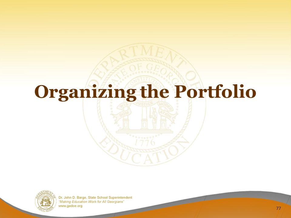 Organizing the Portfolio