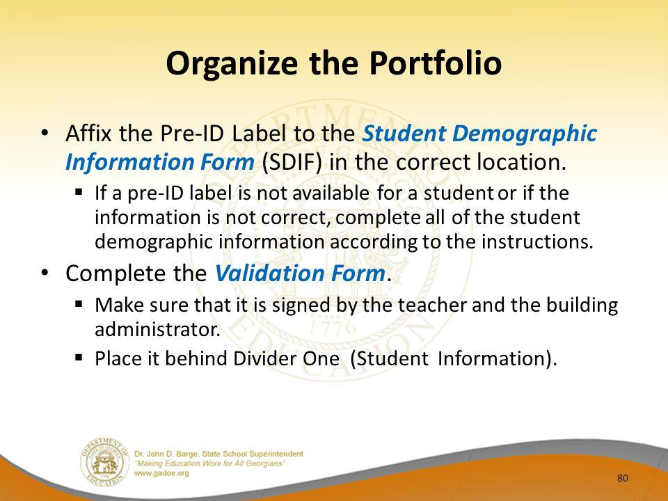 Organize the Portfolio