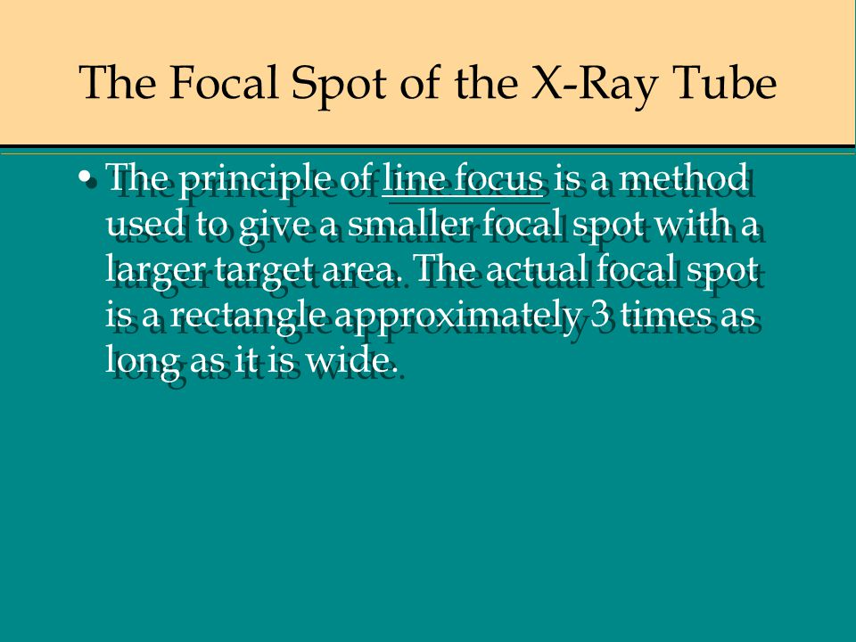 The Focal Spot of the X-Ray Tube