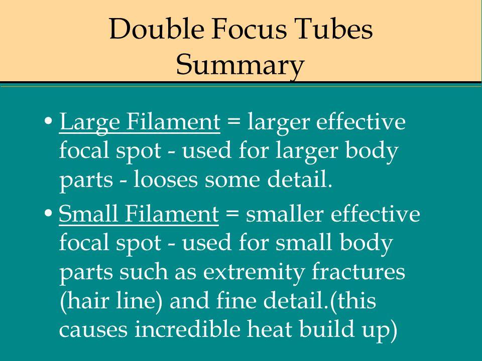 Double Focus Tubes Summary