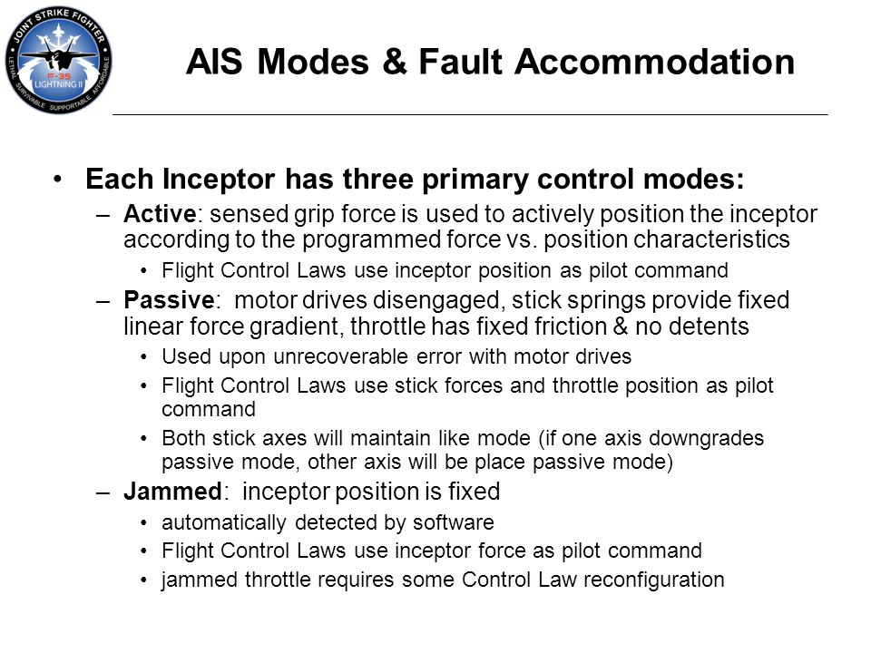 AIS Modes & Fault Accommodation
