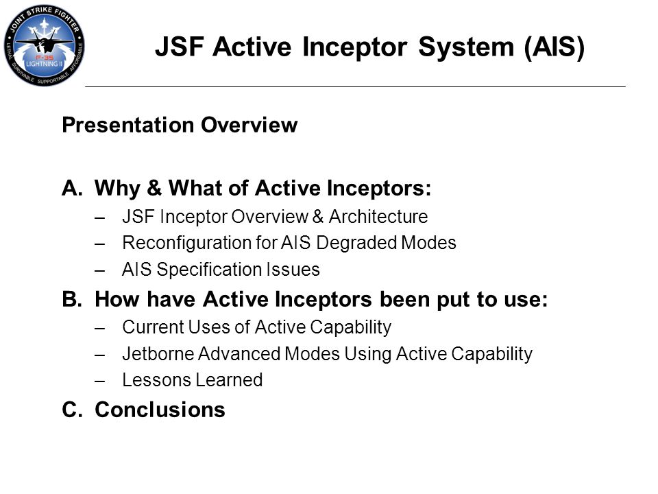 JSF Active Inceptor System (AIS)