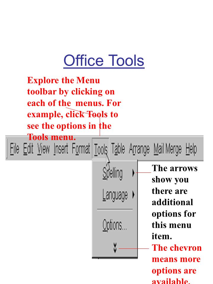 Office Tools Explore the Menu toolbar by clicking on each of the menus. For example, click Tools to see the options in the Tools menu.