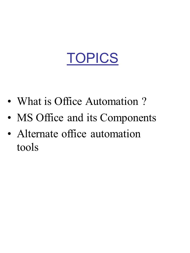 TOPICS What is Office Automation MS Office and its Components