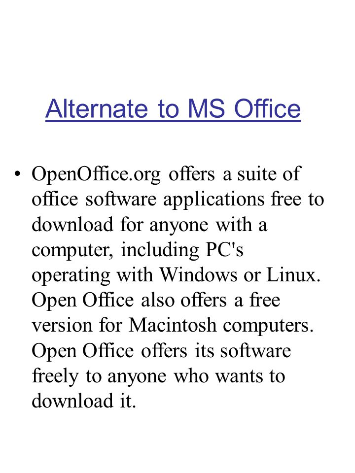 Alternate to MS Office