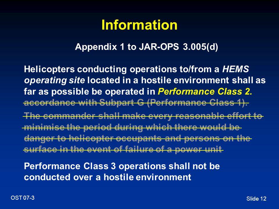 Appendix 1 to JAR-OPS 3.005(d)