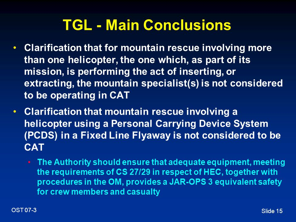 TGL - Main Conclusions