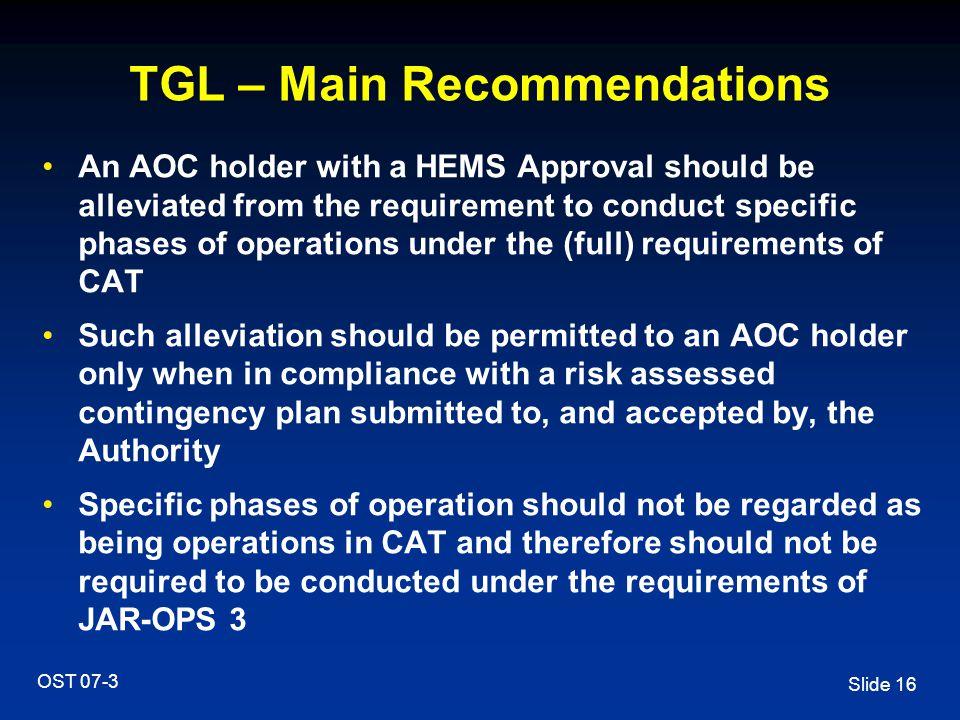 TGL – Main Recommendations