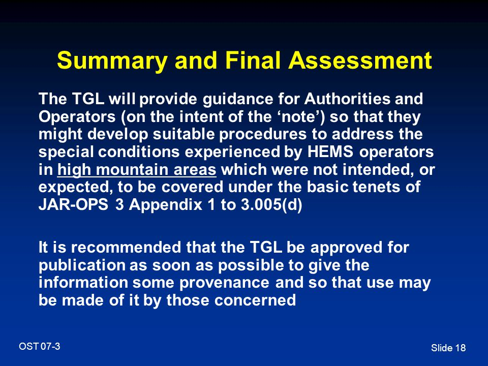 Summary and Final Assessment
