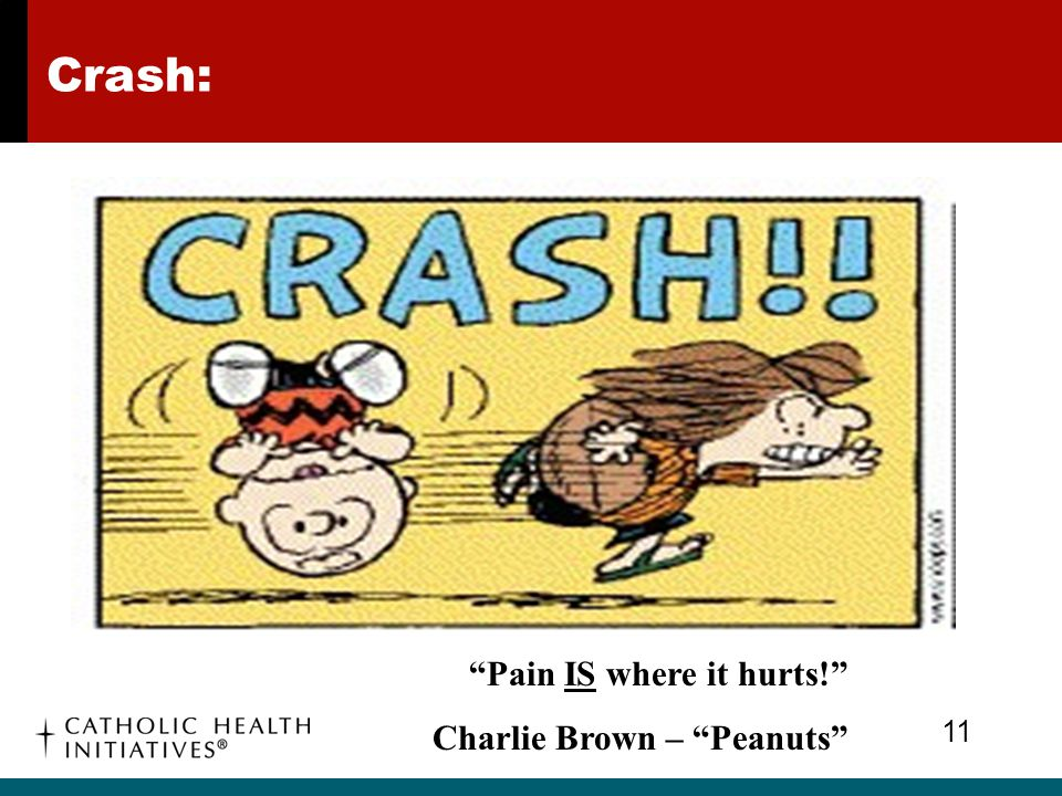 Crash: Pain IS where it hurts! Charlie Brown – Peanuts