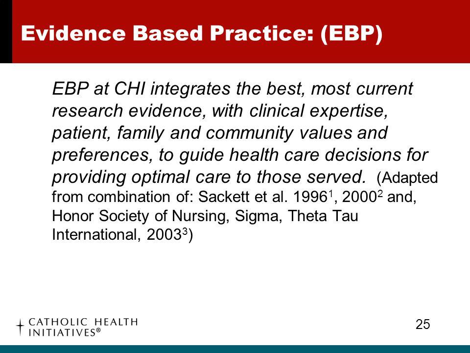 Evidence Based Practice: (EBP)
