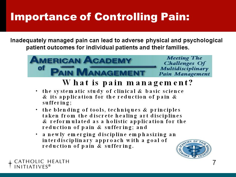 Importance of Controlling Pain: