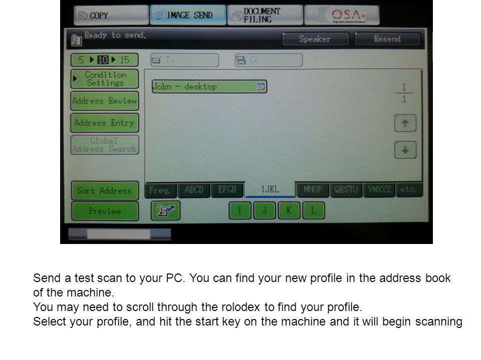 Send a test scan to your PC