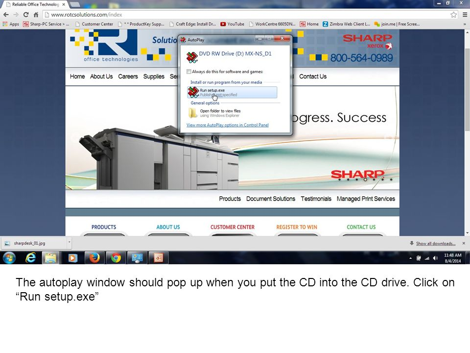 The autoplay window should pop up when you put the CD into the CD drive. Click on