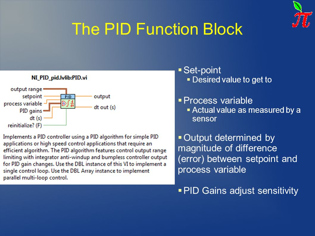 The PID Function Block Set-point Process variable