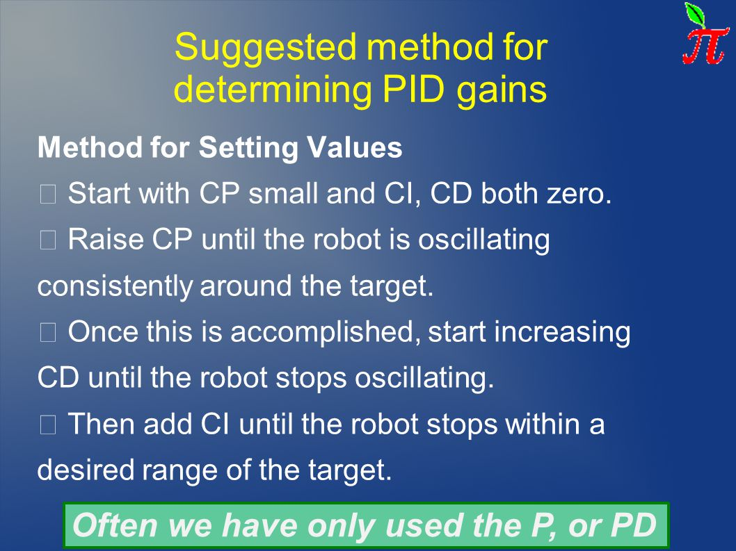 Suggested method for determining PID gains