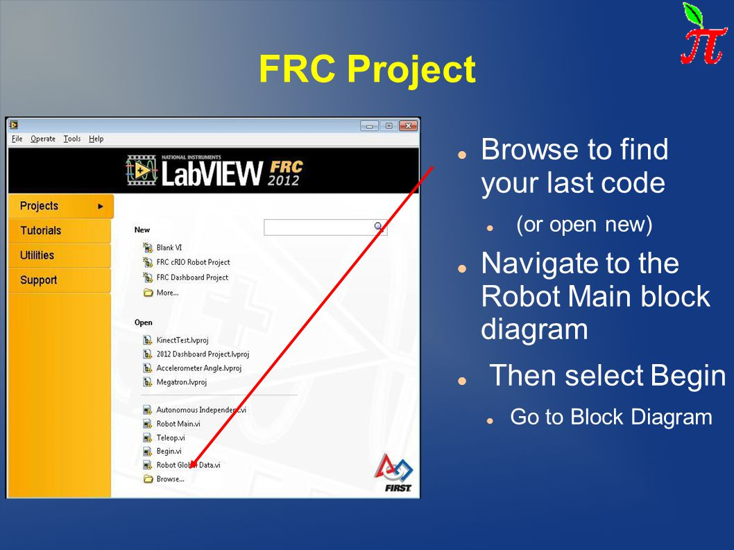 FRC Project Browse to find your last code