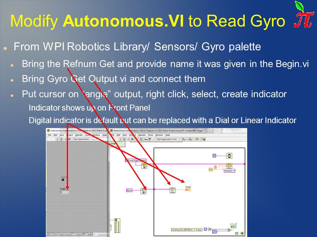 Modify Autonomous.VI to Read Gyro