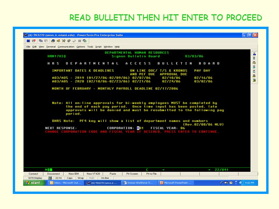 READ BULLETIN THEN HIT ENTER TO PROCEED