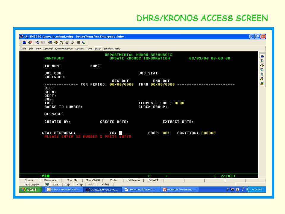 DHRS/KRONOS ACCESS SCREEN