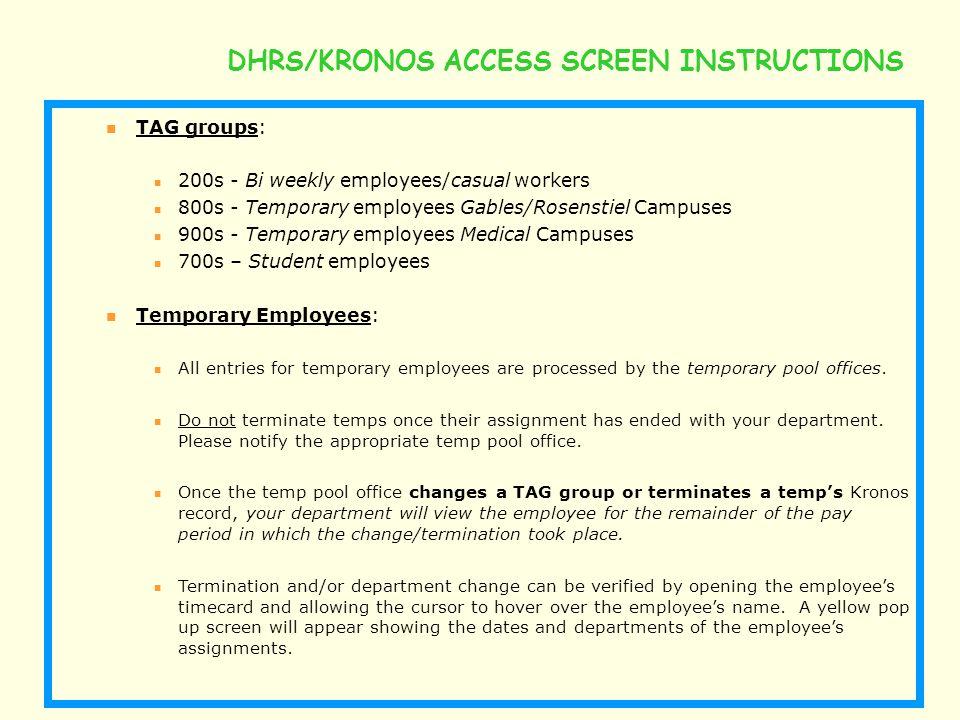 DHRS/KRONOS ACCESS SCREEN INSTRUCTIONS