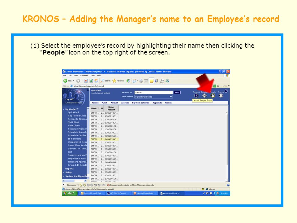 KRONOS – Adding the Manager's name to an Employee's record