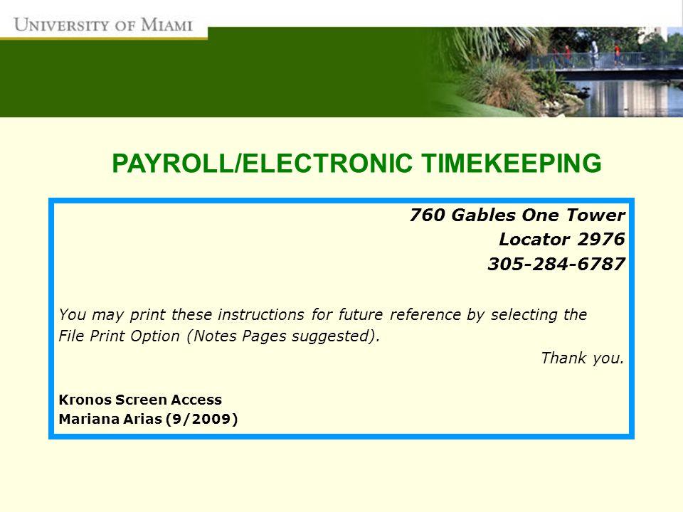 PAYROLL/ELECTRONIC TIMEKEEPING