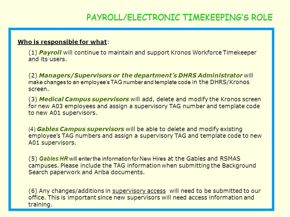 PAYROLL/ELECTRONIC TIMEKEEPING'S ROLE