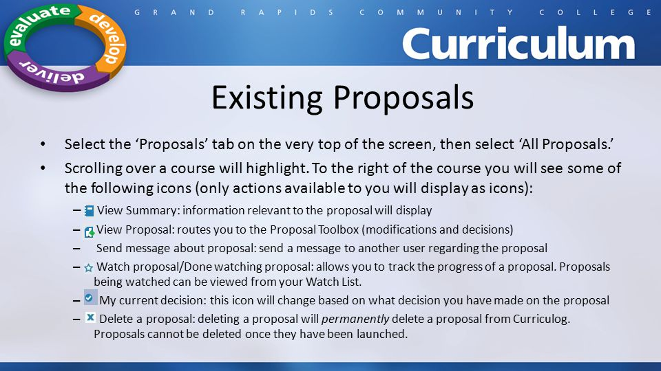 Existing Proposals Select the 'Proposals' tab on the very top of the screen, then select 'All Proposals.'