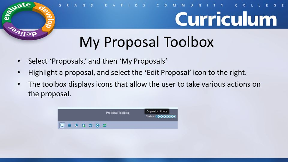 My Proposal Toolbox Select 'Proposals,' and then 'My Proposals'