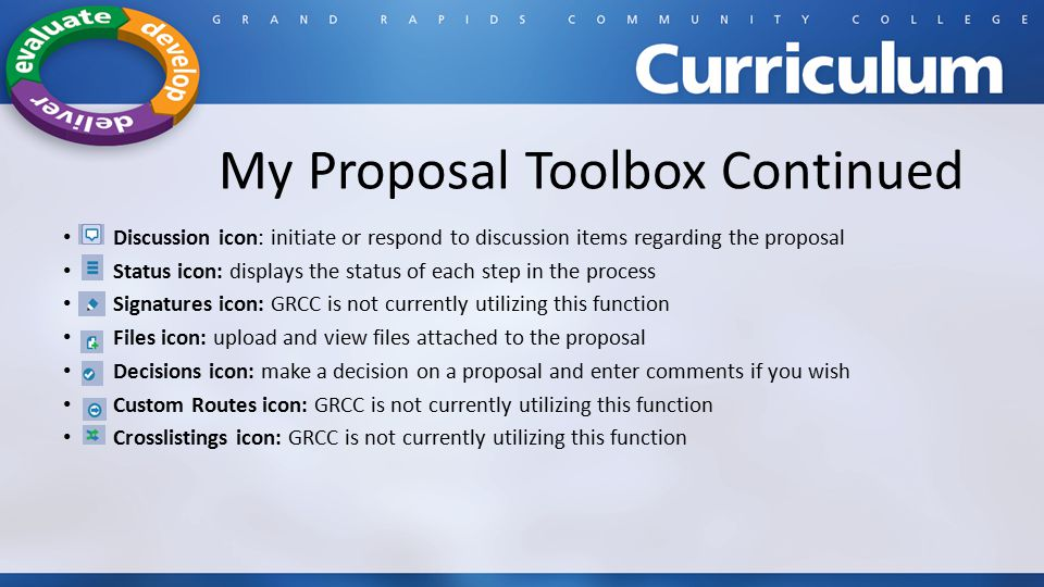My Proposal Toolbox Continued