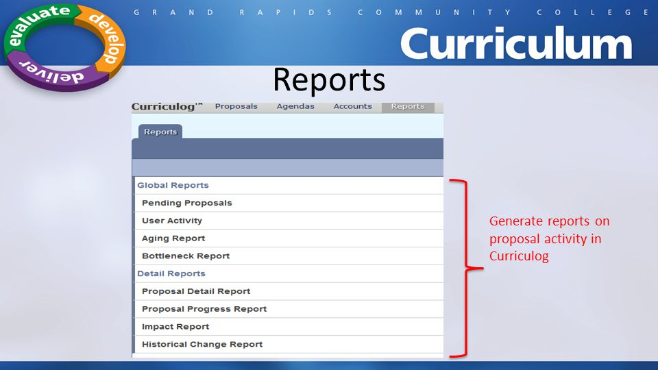 Reports Generate reports on proposal activity in Curriculog