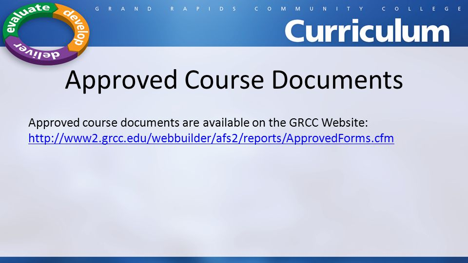Approved Course Documents